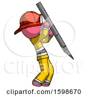 Pink Firefighter Fireman Man Stabbing Or Cutting With Scalpel