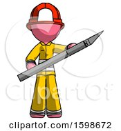 Pink Firefighter Fireman Man Holding Large Scalpel