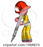 Pink Firefighter Fireman Man Cutting With Large Scalpel