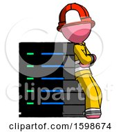 Pink Firefighter Fireman Man Resting Against Server Rack Viewed At Angle