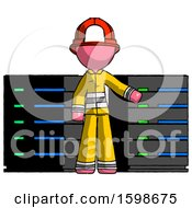 Poster, Art Print Of Pink Firefighter Fireman Man With Server Racks In Front Of Two Networked Systems