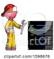 Poster, Art Print Of Pink Firefighter Fireman Man Server Administrator Doing Repairs