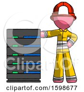 Poster, Art Print Of Pink Firefighter Fireman Man With Server Rack Leaning Confidently Against It