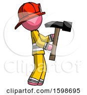 Pink Firefighter Fireman Man Hammering Something On The Right