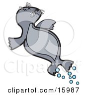 Happy Little Gray Seal Lying On Its Back Clipart Illustration
