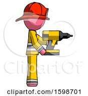 Pink Firefighter Fireman Man Using Drill Drilling Something On Right Side