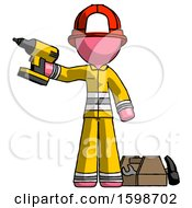 Pink Firefighter Fireman Man Holding Drill Ready To Work Toolchest And Tools To Right