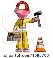 Pink Firefighter Fireman Man Under Construction Concept Traffic Cone And Tools