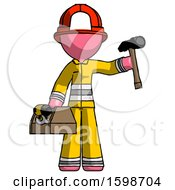 Pink Firefighter Fireman Man Holding Tools And Toolchest Ready To Work