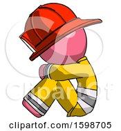 Pink Firefighter Fireman Man Sitting With Head Down Facing Sideways Left