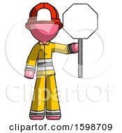 Pink Firefighter Fireman Man Holding Stop Sign