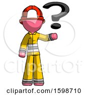 Pink Firefighter Fireman Man Holding Question Mark To Right