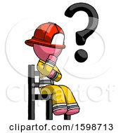 Pink Firefighter Fireman Man Question Mark Concept Sitting On Chair Thinking