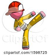 Pink Firefighter Fireman Man Ninja Kick Right
