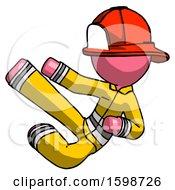 Pink Firefighter Fireman Man Flying Ninja Kick Left