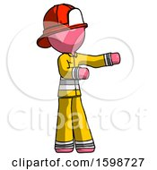Pink Firefighter Fireman Man Presenting Something To His Left