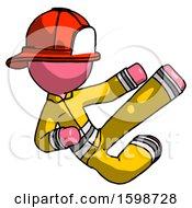 Pink Firefighter Fireman Man Flying Ninja Kick Right
