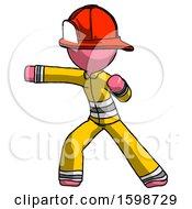 Pink Firefighter Fireman Man Martial Arts Punch Left