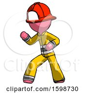Pink Firefighter Fireman Man Martial Arts Defense Pose Left
