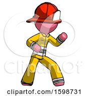 Pink Firefighter Fireman Man Martial Arts Defense Pose Right