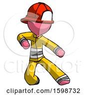 Pink Firefighter Fireman Man Karate Defense Pose Right