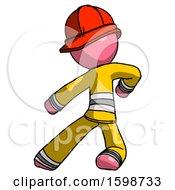 Pink Firefighter Fireman Man Karate Defense Pose Left