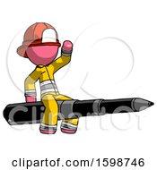 Pink Firefighter Fireman Man Riding A Pen Like A Giant Rocket