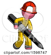 Pink Firefighter Fireman Man Writing With A Really Big Pen