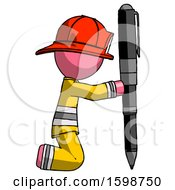 Pink Firefighter Fireman Man Posing With Giant Pen In Powerful Yet Awkward Manner