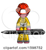 Pink Firefighter Fireman Man Weightlifting A Giant Pen