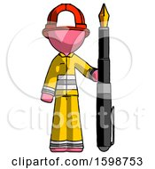 Poster, Art Print Of Pink Firefighter Fireman Man Holding Giant Calligraphy Pen