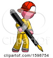 Poster, Art Print Of Pink Firefighter Fireman Man Drawing Or Writing With Large Calligraphy Pen