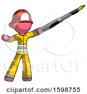 Poster, Art Print Of Pink Firefighter Fireman Man Pen Is Mightier Than The Sword Calligraphy Pose