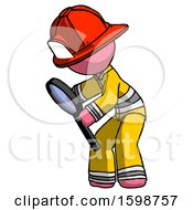 Pink Firefighter Fireman Man Inspecting With Large Magnifying Glass Left