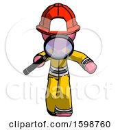 Pink Firefighter Fireman Man Looking Down Through Magnifying Glass