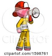 Pink Firefighter Fireman Man Shouting Into Megaphone Bullhorn Facing Right