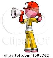 Pink Firefighter Fireman Man Shouting Into Megaphone Bullhorn Facing Left