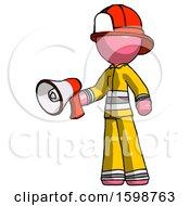 Pink Firefighter Fireman Man Holding Megaphone Bullhorn Facing Right