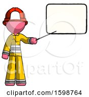 Pink Firefighter Fireman Man Giving Presentation In Front Of Dry Erase Board