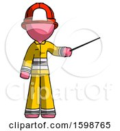 Pink Firefighter Fireman Man Teacher Or Conductor With Stick Or Baton Directing