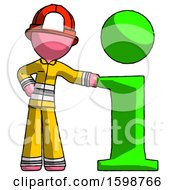 Pink Firefighter Fireman Man With Info Symbol Leaning Up Against It