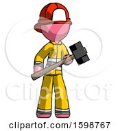 Pink Firefighter Fireman Man With Sledgehammer Standing Ready To Work Or Defend