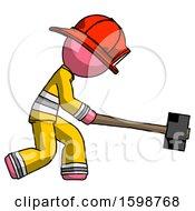 Pink Firefighter Fireman Man Hitting With Sledgehammer Or Smashing Something
