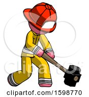 Pink Firefighter Fireman Man Hitting With Sledgehammer Or Smashing Something At Angle