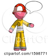 Pink Firefighter Fireman Man With Word Bubble Talking Chat Icon