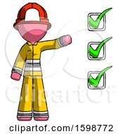 Pink Firefighter Fireman Man Standing By List Of Checkmarks