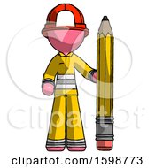 Pink Firefighter Fireman Man With Large Pencil Standing Ready To Write