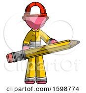Pink Firefighter Fireman Man Writer Or Blogger Holding Large Pencil