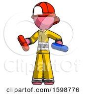 Pink Firefighter Fireman Man Red Pill Or Blue Pill Concept