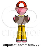 Poster, Art Print Of Pink Firefighter Fireman Man Reading Book While Standing Up Facing Viewer